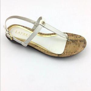 RALPH LAUREN White T Ankle Strap Thong Sandal